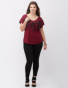 Bow applique double V tee