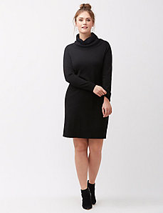 Turtleneck sweater dress with scoop back
