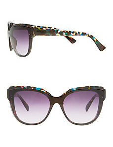 Blue tortoiseshell rimless sunglasses