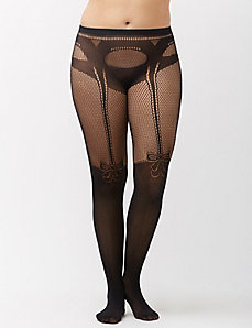 Faux thigh high tights with fishnet bow