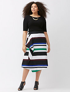 Infinite Stretch draped striped skirt