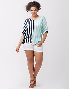 Striped faux silk dolman top