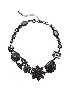 Matte black collage necklace