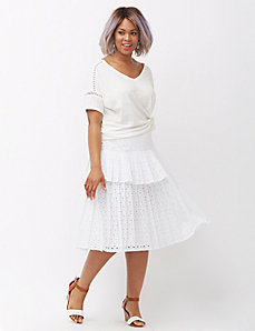 Blocked Pleated Eyelet Midi Skirt