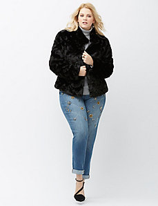 Faux fur dress coat