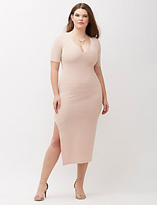 Textured Bodycon Dress with Slit by ABS Allen Schwartz