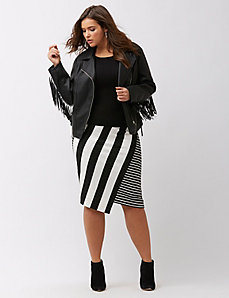 Fringed faux leather jacket