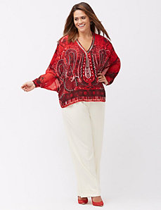Embellished paisley drama top