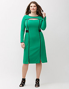 Cut-out dress with faux leather trim