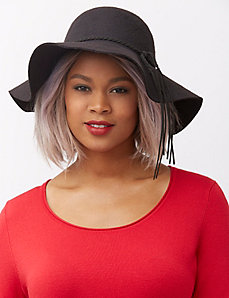 Floppy felt hat with fringed band