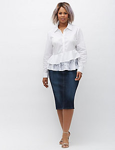 Asymmetrical ruffled peplum shirt