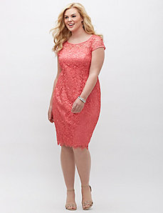 Lace cap-sleeve dress by Adrianna Papell