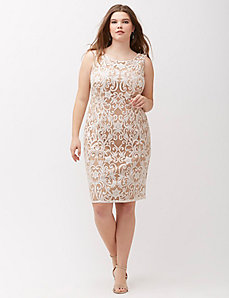 Sequin Embroidered Sheath Dress by Adrianna Papell