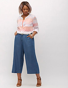 Ultra-Light Denim Wide-Leg Crop