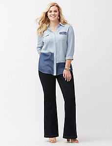 Colorblock chambray boyfriend shirt