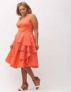 Sleeveless Cascade Drape Dress