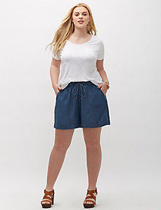 Chambray Drawstring Short