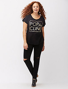 Pop Fizz Clink foiled graphic tee