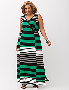Striped surplice maxi dress