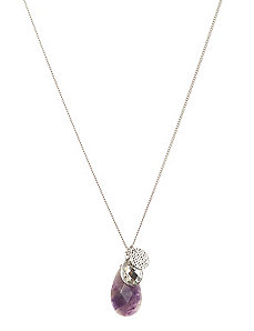 Purple teardrop pendant necklace