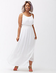 Smocked-Waist Spaghetti Strap Maxi Dress