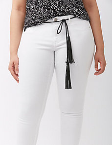 Faux leather tie belt with fringe