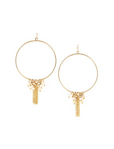 Beaded hoop drop earrings