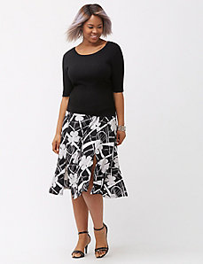 Simply Chic Carwash Mixed Graphic Midi Skirt