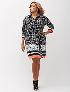 Grid Print Shirtdress