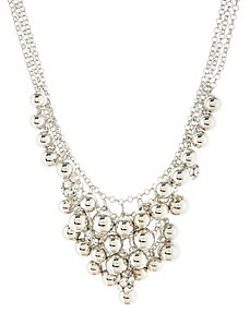 Silvertone bauble necklace