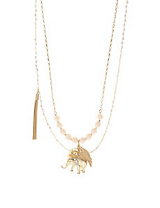2-row elephant charm necklace