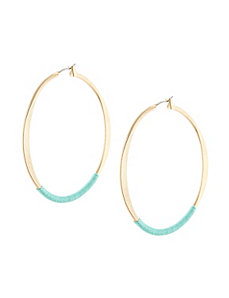 Thread wrapped hoop earrings