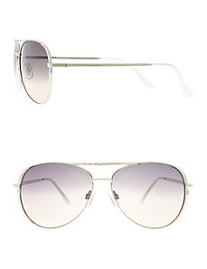 Rhinestone brow aviator sunglasses