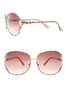 Animal print square frame sunglasses