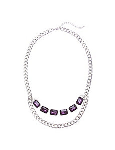 Purple stone link necklace