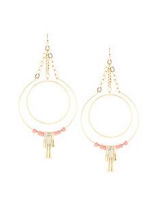 Beaded Double Hoop Drop Earrings