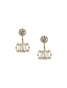 Front to back emerald cut CZ earrings