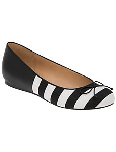 Striped hidden wedge ballet flat