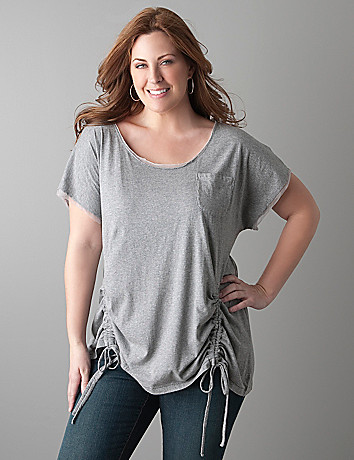 Plus size side drawstring top by DKNY JEANS