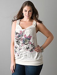 Macrame floral band bottom tank