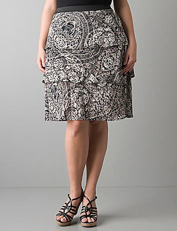 Full figure tiered tile print skirt