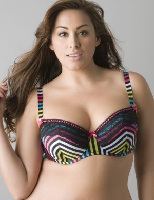 Chevron stripe push up demi bra