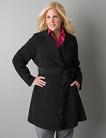 Ruffled trench coat by Lane Bryant