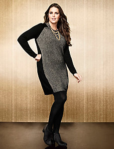 Metallic colorblock sweater dress by LANE BRYANT