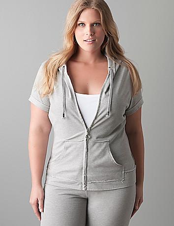Short sleeve raw edge hoodie by Seven7