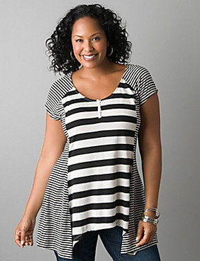 Full figure mixed stripe sharkbite tee | Lane Bryant