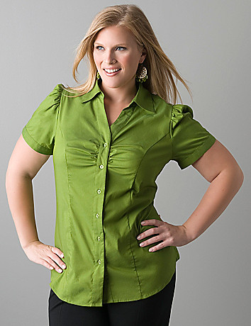 Short sleeve button front shirt by Lane Bryant