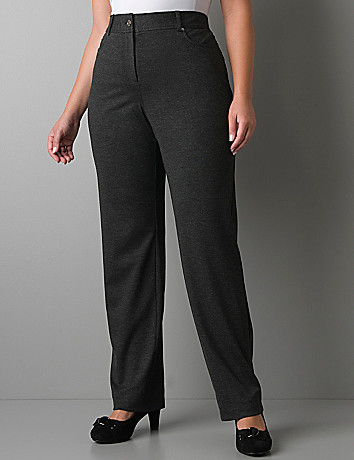 Ponte knit boot leg pant with Tighter Tummy Technology