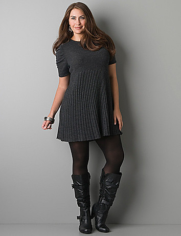 Ruched sleeve sweater dress by Lane Bryant