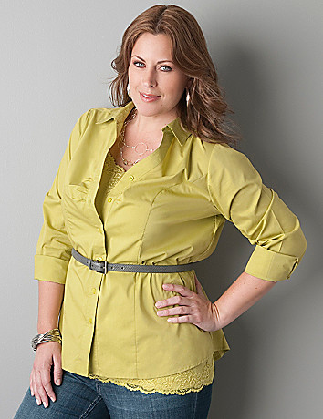 Long sleeve button front shirt by Lane Bryant